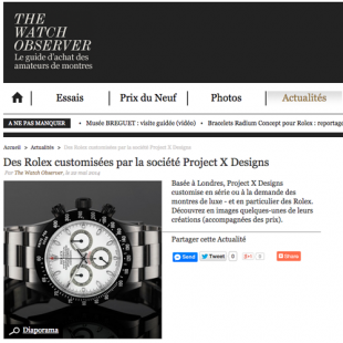 Project X Designs Rolex reviewed by the THE WATCH OBSERVER