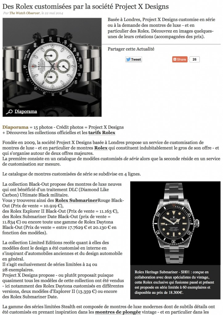 PAGE 1 Des Rolex customisées par la société Project X Designs _ The Watch Observer
