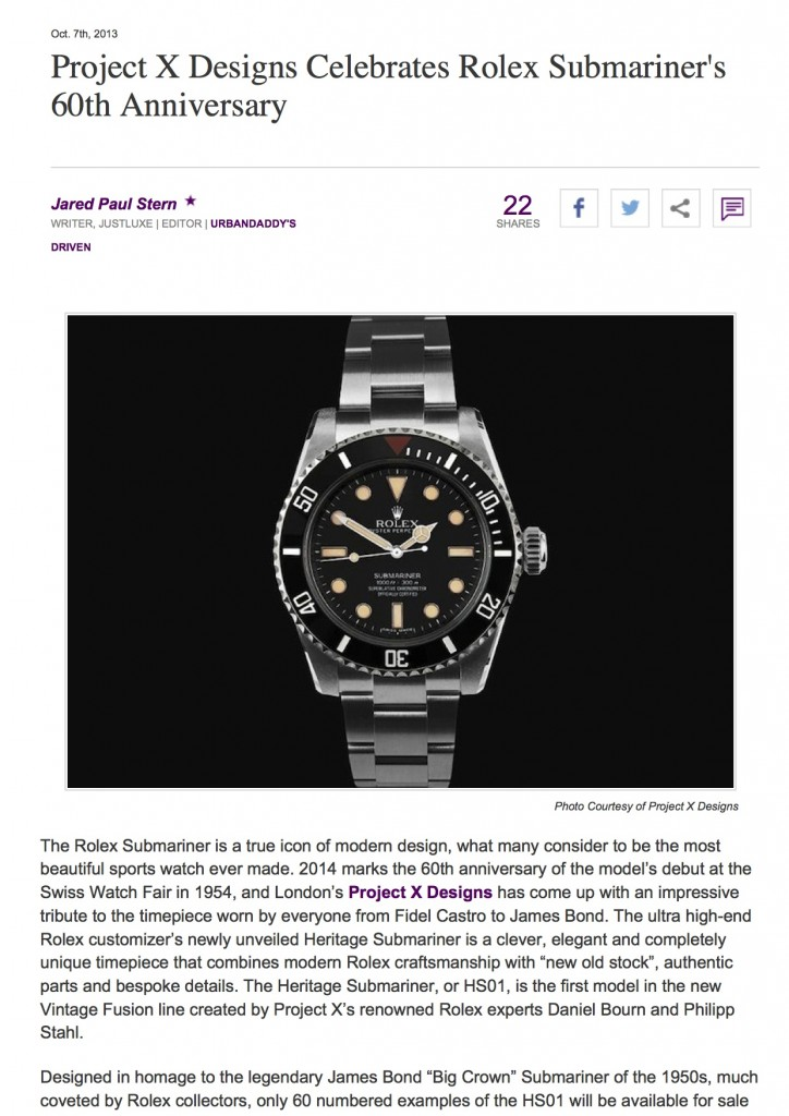 PAGE 1 Project X Designs Celebrates Rolex Submariner's 60th Anniversary