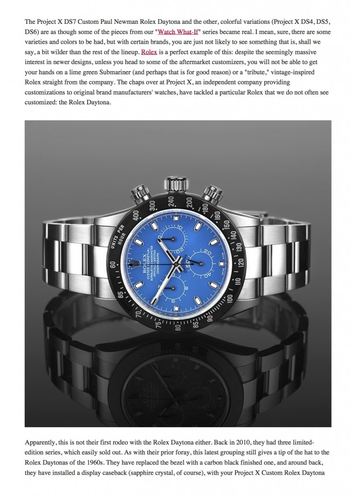 PAGE 2 Project X Custom Rolex Daytona 'Paul Newman' Tribute & Other Colorful Variants _ aBlogtoWatch