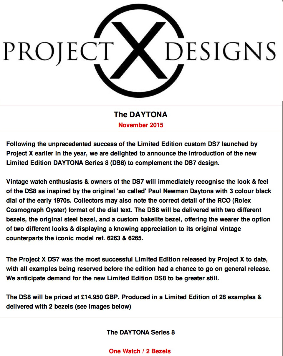 The Daytona DS8 by Project X PAGE 1 edit