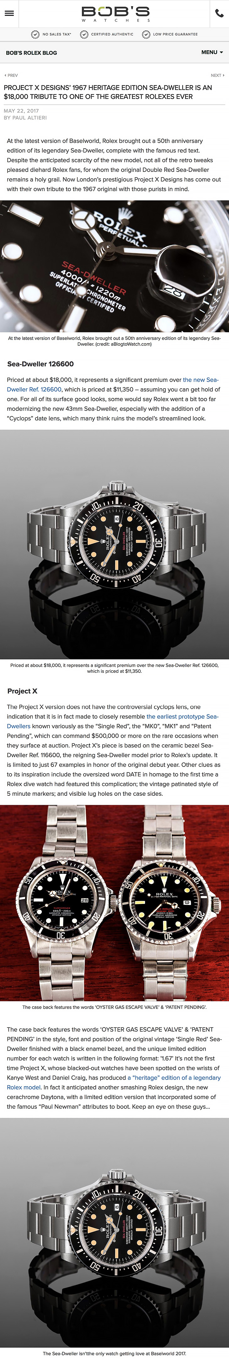 Bobs Watches 1967 Heritage Edition Project X Designs